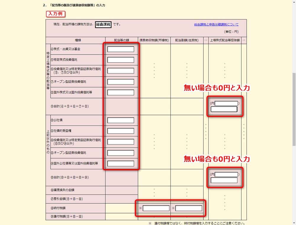 e-Tax 配当所得 配当金額の入力