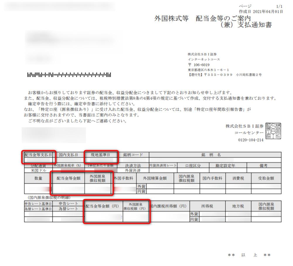 SBI証券 配当案内書・支払通知書 見本