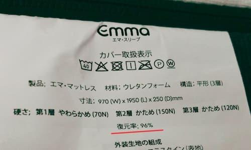 エマスリープの製品タグ。復元率が記載されている。